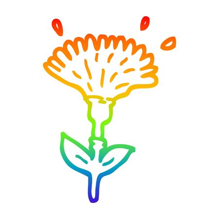 rainbow gradient line drawing of a cartoon dandelion opening Stock Illustratie