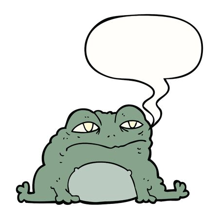 cartoon toad with speech bubble  イラスト・ベクター素材