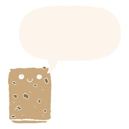 cartoon biscuit with speech bubble in retro style