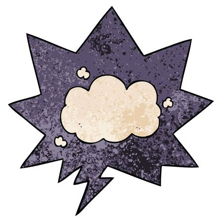 cartoon cloud with speech bubble in retro texture style