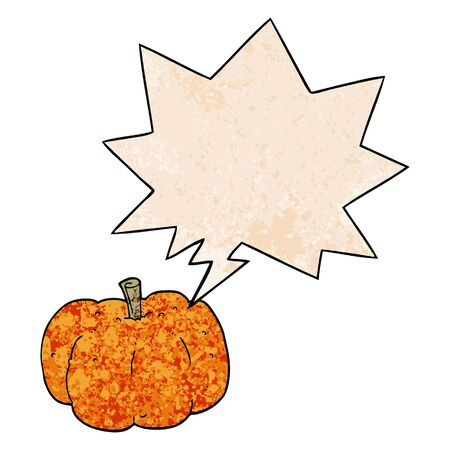 cartoon pumpkin with speech bubble in retro texture style