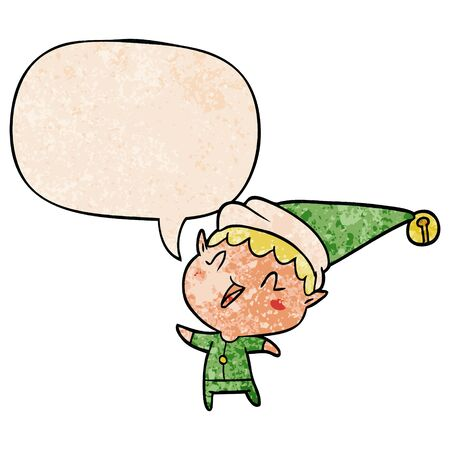 cartoon happy christmas elf with speech bubble in retro texture style
