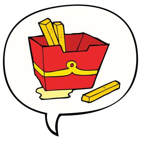 cartoon box of fries with speech bubble Illusztráció