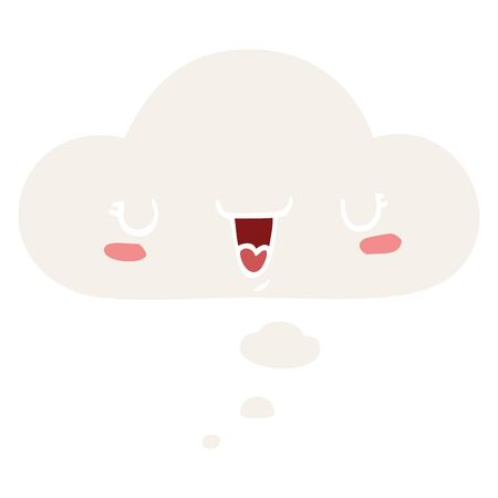 cute happy face cartoon with thought bubble in retro style