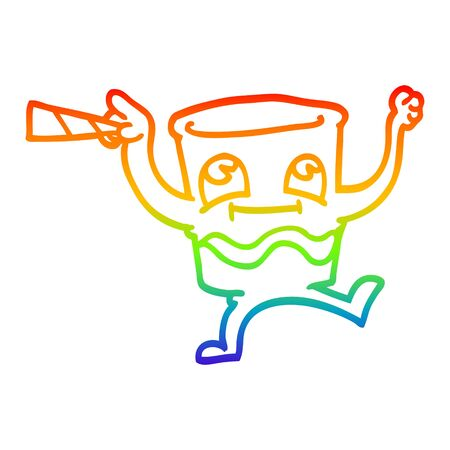 rainbow gradient line drawing of a cartoon animated whisky glass