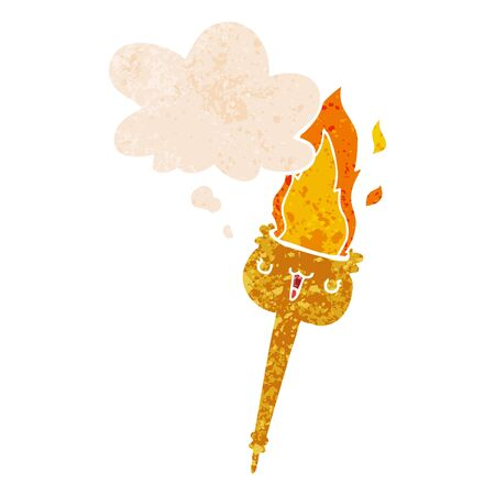 cartoon flaming torch with thought bubble in grunge distressed retro textured style Ilustração