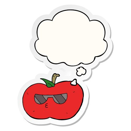 cartoon cool apple with thought bubble as a printed sticker