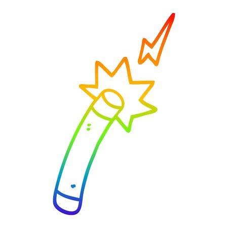 rainbow gradient line drawing of a cartoon magician wand