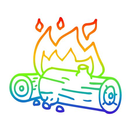 rainbow gradient line drawing of a cartoon burning logs Stok Fotoğraf - 130564799