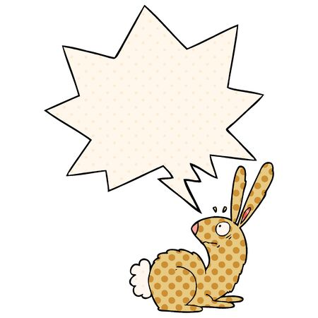 cartoon startled bunny rabbit with speech bubble in comic book style