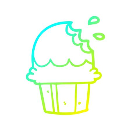 cold gradient line drawing of a chocolate cupcake