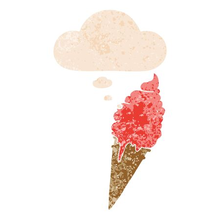 cartoon ice cream with thought bubble in grunge distressed retro textured style