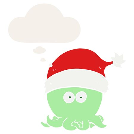 cartoon octopus wearing christmas hat with thought bubble in retro style