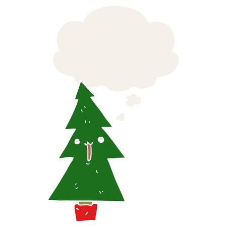 cartoon christmas tree with thought bubble in retro style