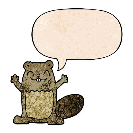 cartoon beaver with speech bubble in retro texture style
