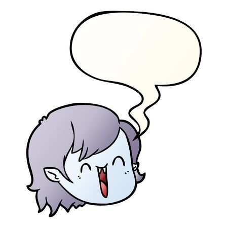 cartoon vampire girl face with speech bubble in smooth gradient style