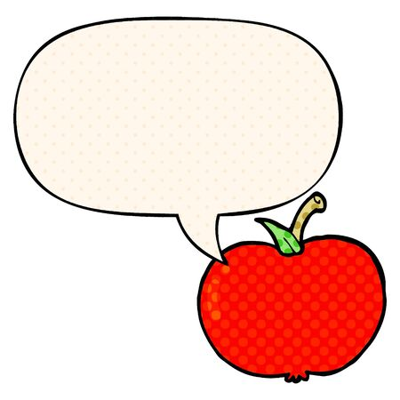 cartoon apple with speech bubble in comic book style Ilustração