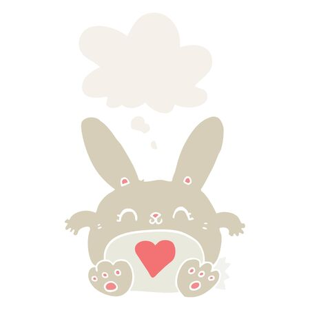 cute cartoon rabbit with love heart with thought bubble in retro style Ilustração