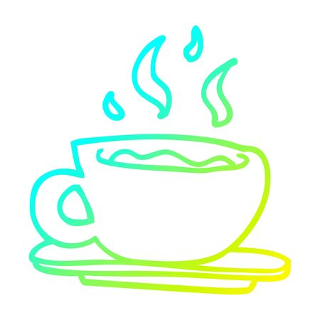 cold gradient line drawing of a cartoon cup of tea