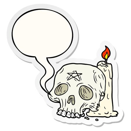 cartoon spooky skull and candle with speech bubble sticker 向量圖像