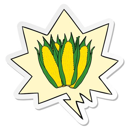cartoon organic corn with speech bubble sticker