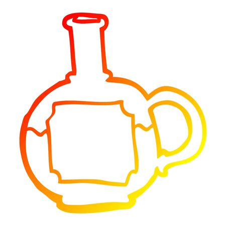 warm gradient line drawing of a cartoon food bottle Ilustracja
