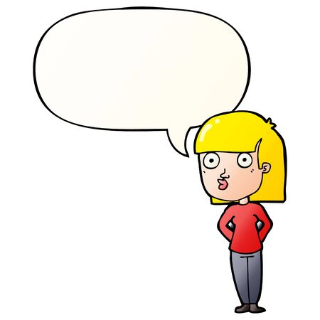 cartoon woman staring with speech bubble in smooth gradient style