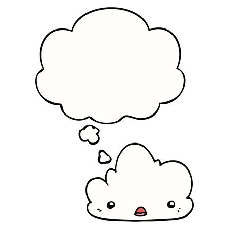 cute cartoon cloud with thought bubble