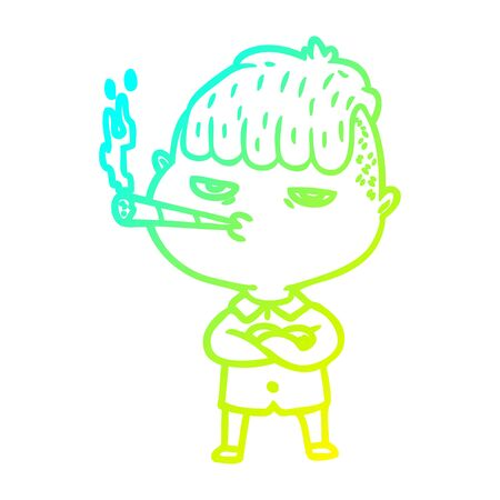 cold gradient line drawing of a cartoon man smoking Illusztráció