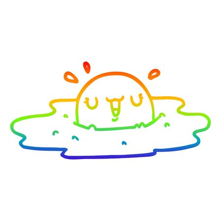 rainbow gradient line drawing of a cartoon fried egg