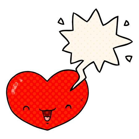 cartoon love heart character with speech bubble in comic book style Ilustração