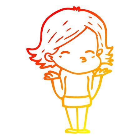 warm gradient line drawing of a cartoon confused woman Foto de archivo - 130565345