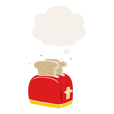 cartoon toaster with thought bubble in retro style