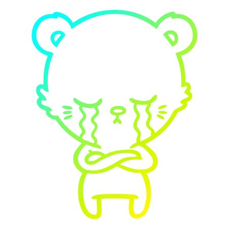 cold gradient line drawing of a crying cartoon bear with folded arms