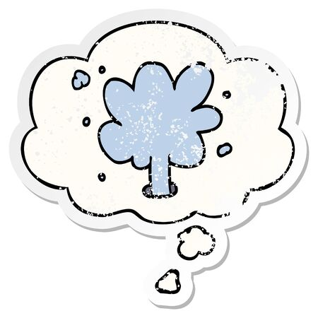 cartoon spouting water with thought bubble as a distressed worn sticker Illustration