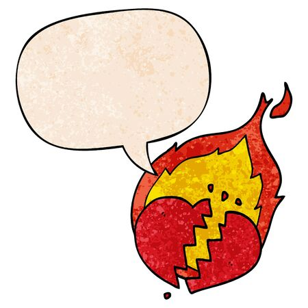 cartoon flaming heart with speech bubble in retro texture style