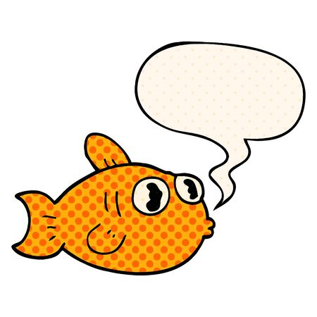 cartoon fish with speech bubble in comic book style