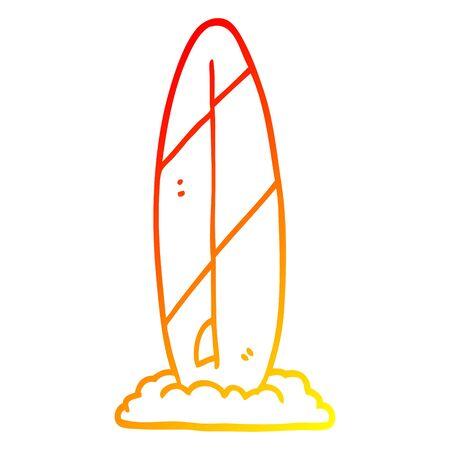warm gradient line drawing of a cartoon surf board Illustration