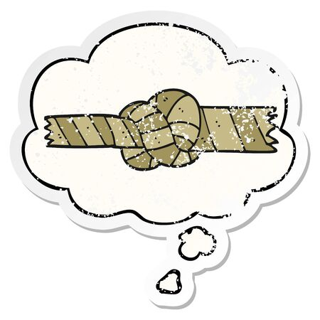 cartoon knotted rope with thought bubble as a distressed worn sticker