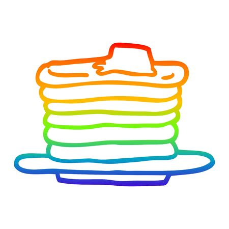 rainbow gradient line drawing of a cartoon stack of pancakes Ilustracja