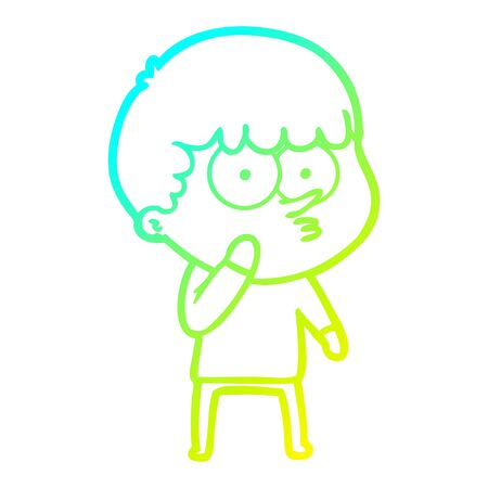 cold gradient line drawing of a cartoon curious boy