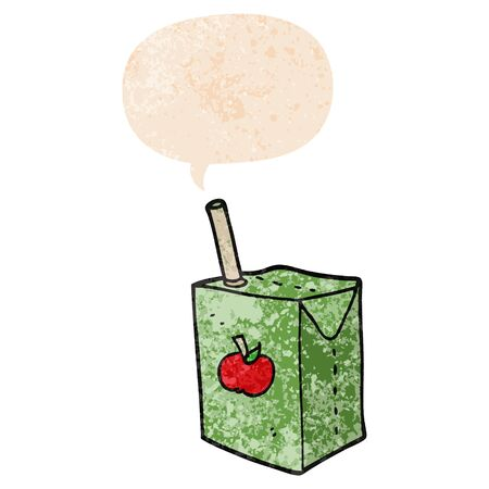 cartoon apple juice box with speech bubble in grunge distressed retro textured style