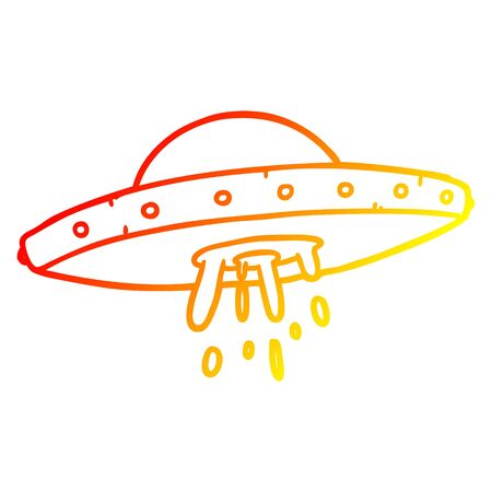 warm gradient line drawing of a flying UFO Stock Vector - 130565469