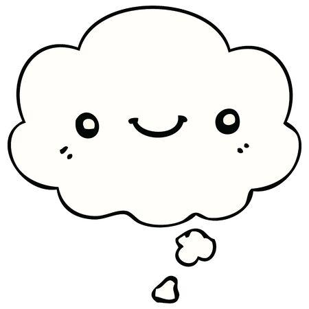 dessin animé mignon visage heureux avec bulle de pensée