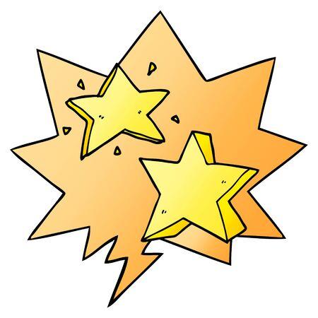 cartoon star with speech bubble in smooth gradient style Ilustração