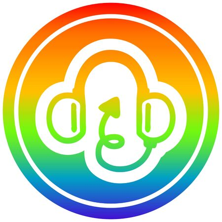 music headphones with devil tail circular icon with rainbow gradient finish