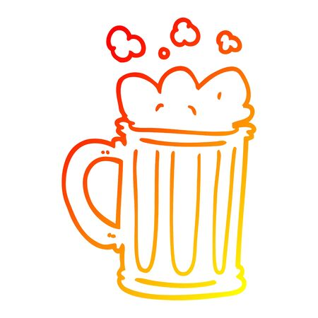 warm gradient line drawing of a cartoon pint of beer
