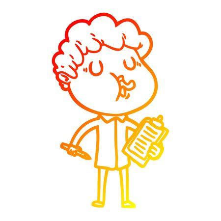warm gradient line drawing of a cartoon man singing