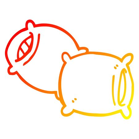 warm gradient line drawing of a cartoon pillow