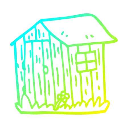 cold gradient line drawing of a cartoon wooden shed
